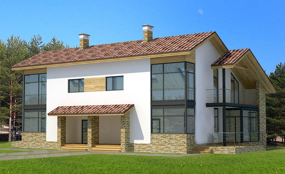 Casa de madera casas prefabricadas r 1387 area 320 m2 for Casas de madera para terrazas