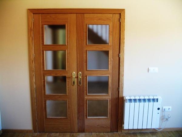 Casa de madera casas prefabricadas puerta doble salon - Puertas dobles de interior ...